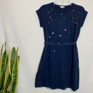CREWCUTS 10 Navy Short Sleeve Dress With Stars